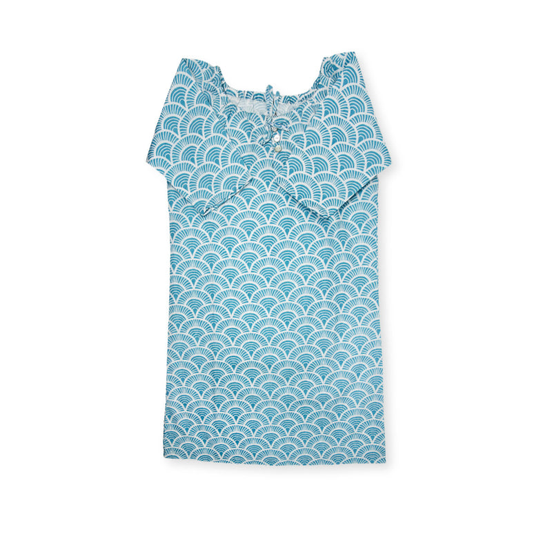 Handprinted Organic Nightgown - Art Deco - Blue