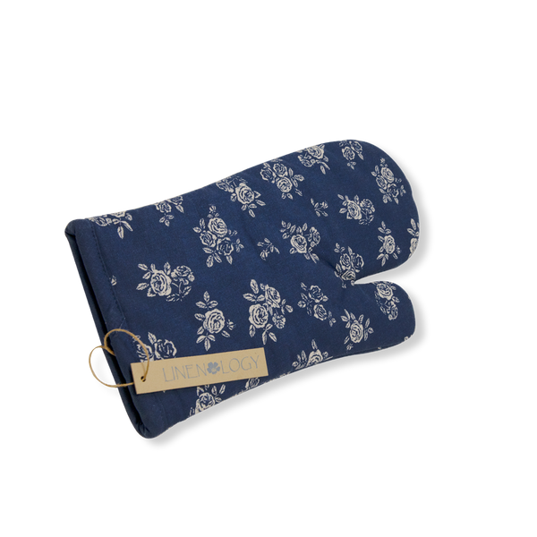 Oven Mitt & Pot Holder Set - English Rose - Navy