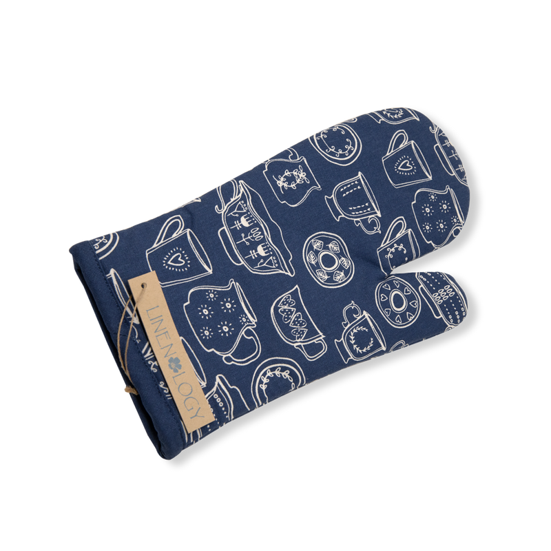 Oven Mitt & Pot Holder Set - Cup & Saucer - Navy