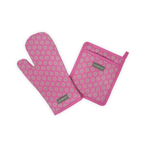 Oven Mitt & Pot Holder Set - Geo pink Flambé