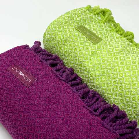 Set of 2 Partridge Eye Towels - Lime Love, Purple Passion