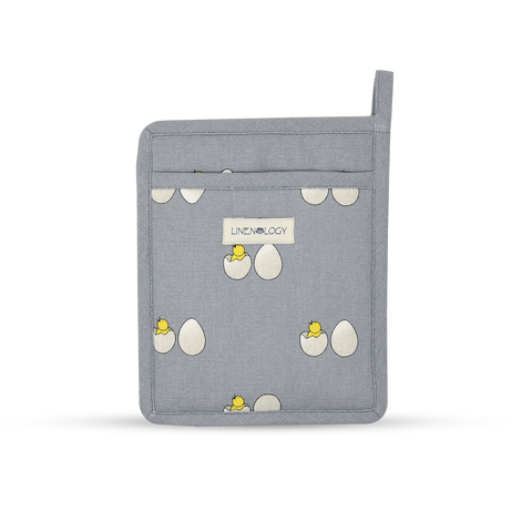 Oven Mitt & Pot Holder Set - Chick & Egg - Blue Fog