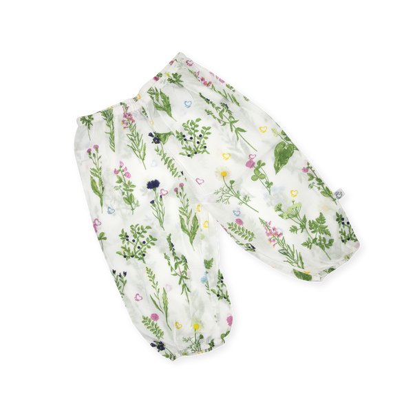 Handprinted  Organic Voile Pants - Swedish Flora