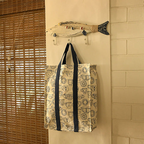 Shopping Bag with Webbing Handle - Cup & Saucer - Cream