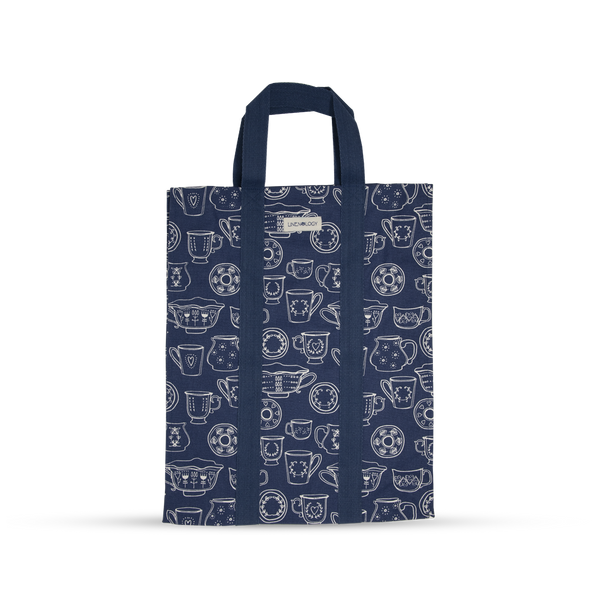 Shopping Bag with Webbing Handle - Cup & Saucer - Navy
