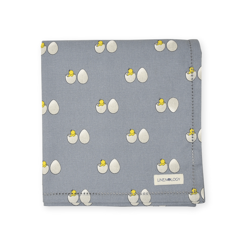 Dining Set - Chick & Egg - Blue Fog - Acrylic Coated Table Cloth, 6 Place mats (Solid), Napkins (Solid - Set of 6)