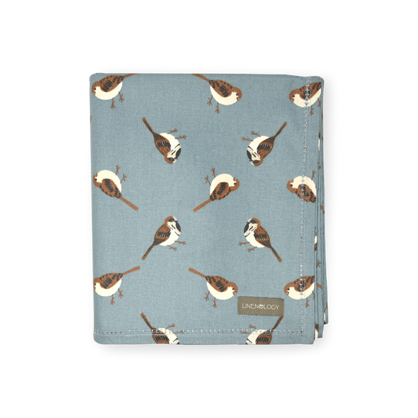 Acrylic Coated Table Cloth - Sparrows - Cameo Blue