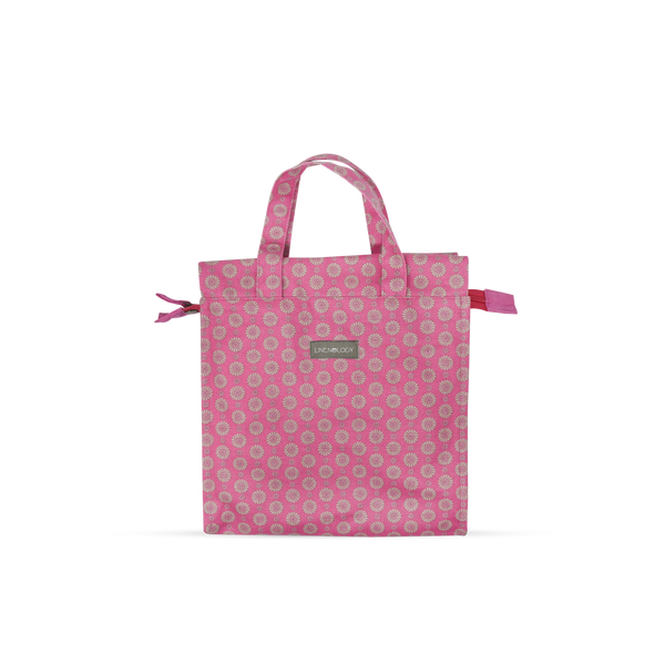 Tall Acrylic Coated Lunch Bag with Zip - Geo Pink Flambé