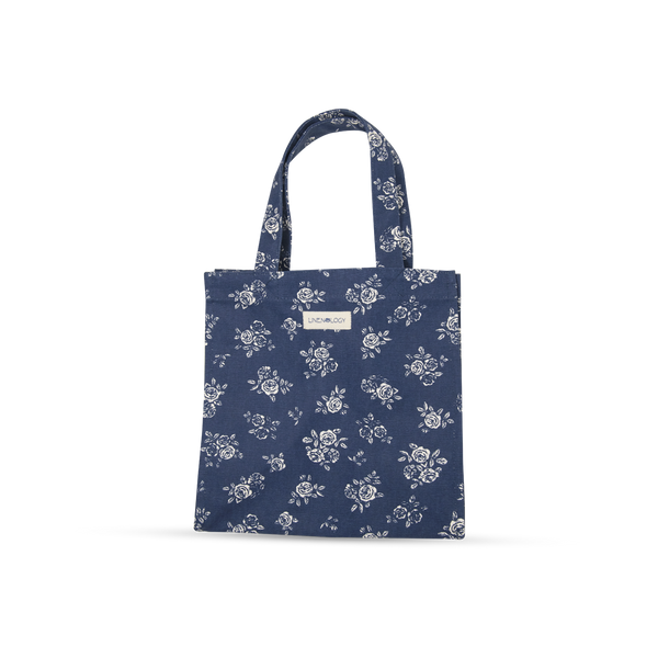 Tall Acrylic Coated Lunch Bag without Zip - English Rose - Navy