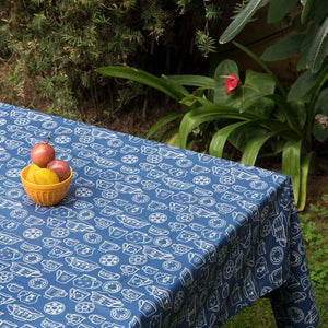 Acrylic Coated Table Cloth - Cup & Saucer - Navy