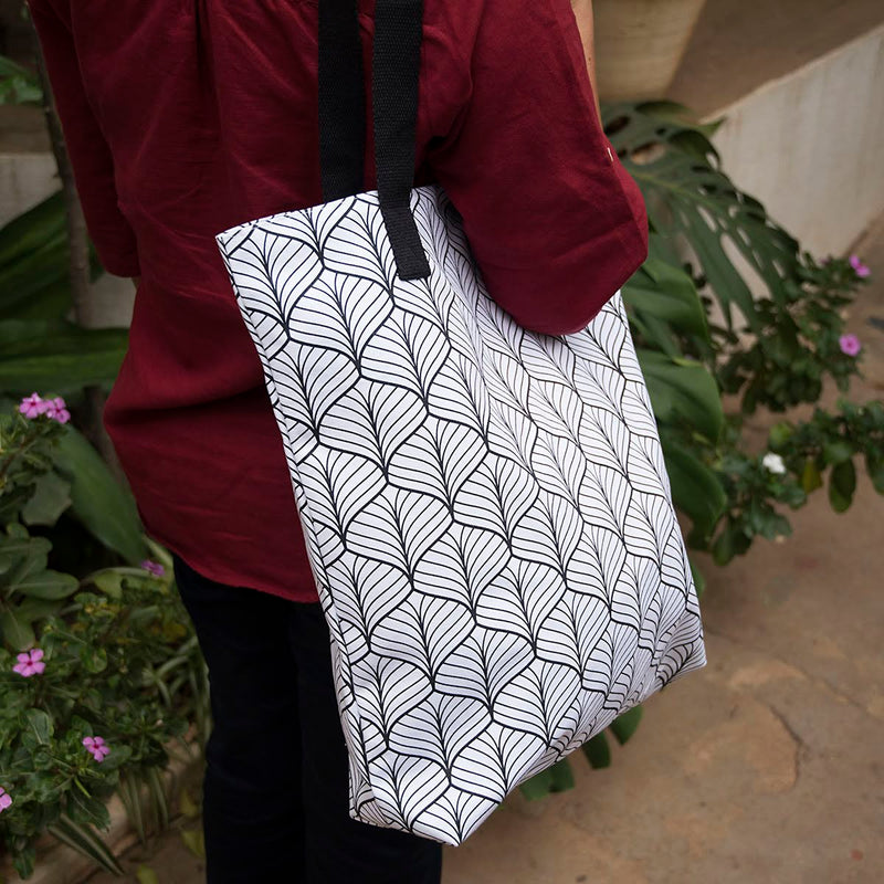 Canvas Tote - Abstract - White