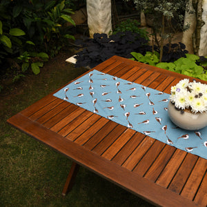 Table Runner - Sparrows - Cameo Blue