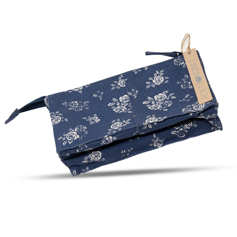 Makeup Bag Big - English Rose - Navy