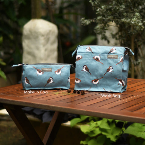 Wash Bag Tall - Sparrows - Cameo Blue