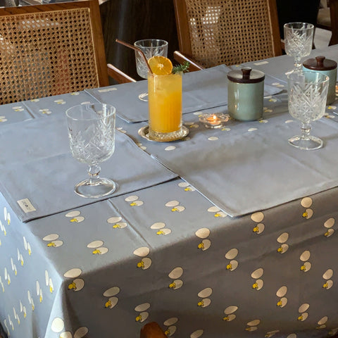 Acrylic Coated Table Cloth - Chick & Egg - Blue Fog