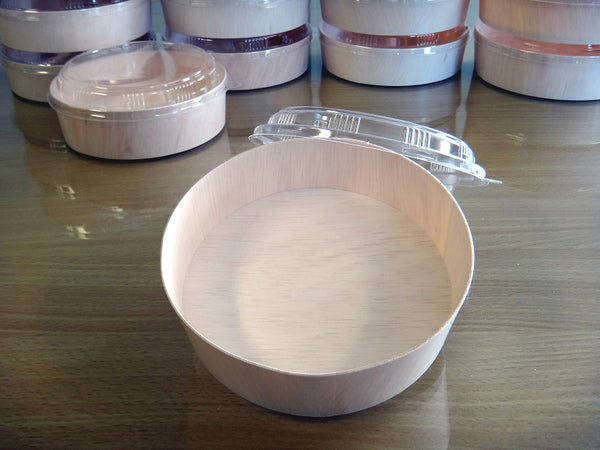 735ML ROUND WOODEN VENEER BOWL WITH CLEAR LID | FLR-01BF