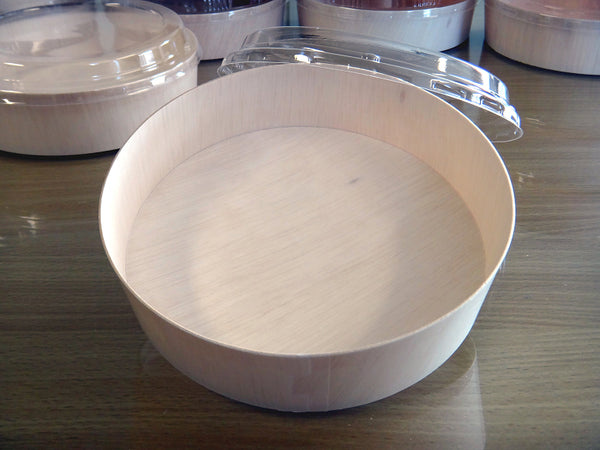 940ML ROUND WOODEN VENEER BOWL WITH CLEAR LID | FLR-03BF