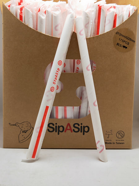 RED SIP XL JUMBO PAPER STRAW W/SLANT POINTER 12X255MM 3-LAYER 355GSM INDIVIDUAL PAPER WRAP