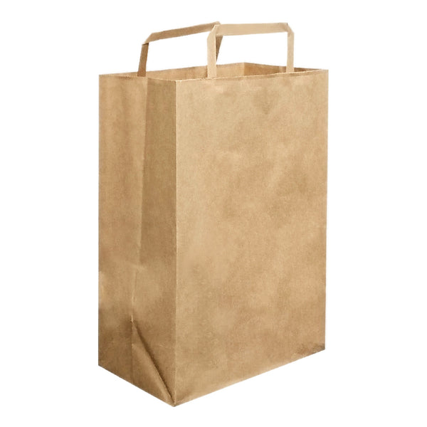 215X300X100MM KRAFT CARRY BAG WITH FLAT HANDLE - SMALL