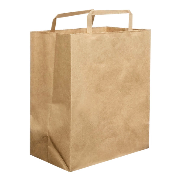 240X280X140MM KRAFT CARRY BAG WITH FLAT HANDLE - MEDIUM