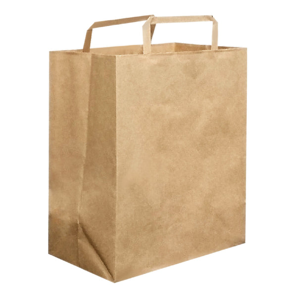 280X300X150MM KRAFT CARRY BAG WITH FLAT HANDLE - LARGE
