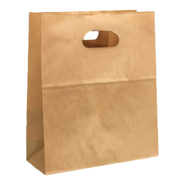 200X300X110MM KRAFT CARRY BAG WITH DIE CUT OVAL HANDLE - SMALL
