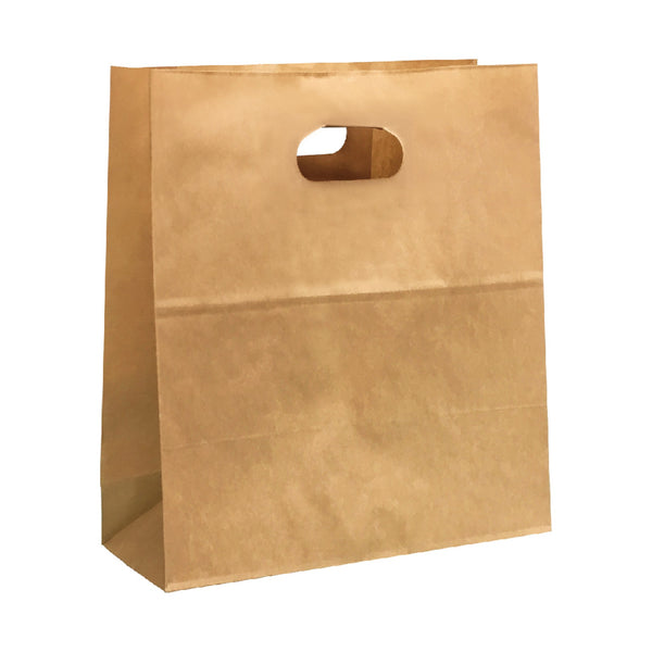 240X280X140MM KRAFT CARRY PAPER BAG WITH DIE CUT OVAL HANDLE - MEDIUM