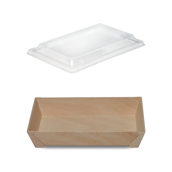 900ML FOOTED RECTANGULAR WOODEN BOX WITH CLEAR LID