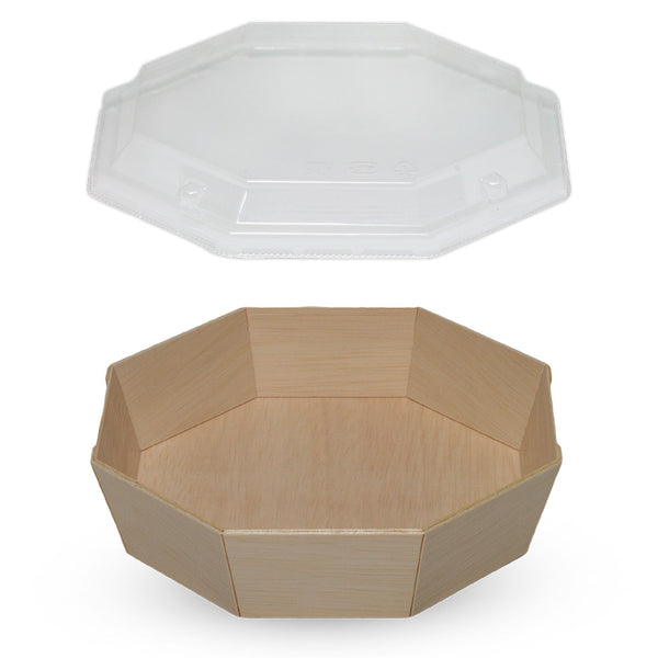 700ML OCTAGON WOODEN VENEER BOWL WITH CLEAR LID