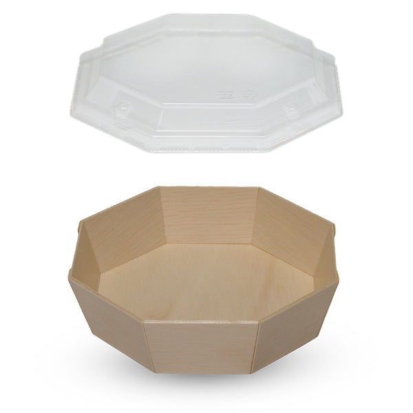 575ML OCTAGON WOODEN VENEER BOWL WITH CLEAR LID