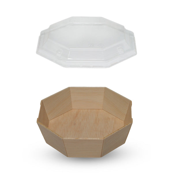 485ML OCTAGON WOODEN VENEER BOWL WITH CLEAR LID