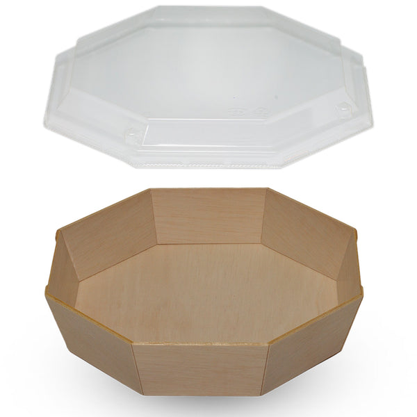 840ML OCTAGON WOODEN VENEER BOWL WITH CLEAR LID