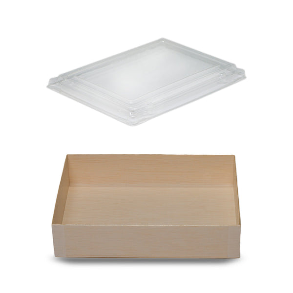 710ML FOLDABLE RECTANGULAR WOODEN BOX WITH CLEAR LID
