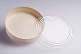 730ML ROUND WOODEN VENEER BOWL WITH CLEAR LID | FLR-02BF