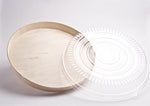 "16"" ROUND WOODEN VENEER PLATTER WITH CLEAR DOME LID 