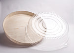 "12"" ROUND WOODEN VENEER PLATTER WITH CLEAR DOME LID 