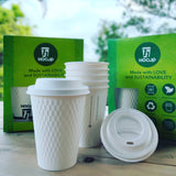 ECO INDIVIDUAL PACK 12 OF 12OZ DOUBLE WALL CUBE EMBOSS 3D HOT CUP AND SUGARCANE FIBRE HOT LID