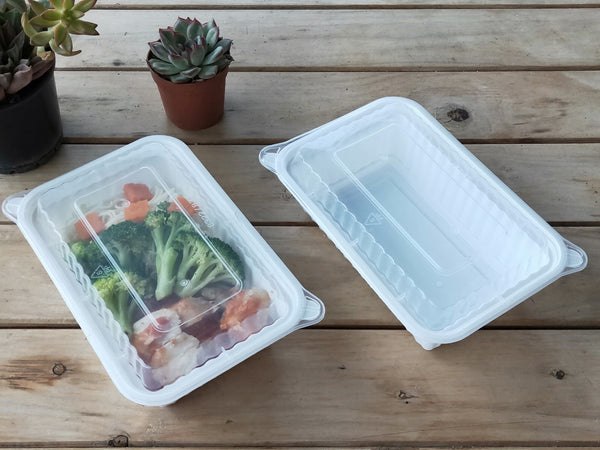 720ML WHITE RECTANGULAR WAVEBOX FOODSERVICE CONTAINER BLACK W/-CLEAR LID