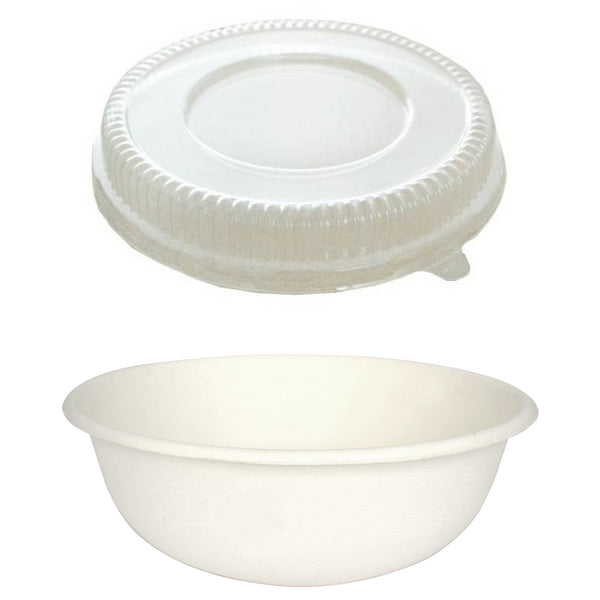 875ML SUGARCANE BOWL WITH CLEAR RAISED LID