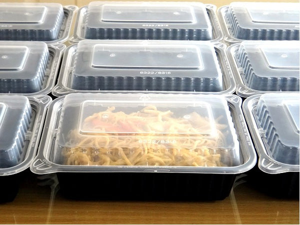 720ML BLACK RECTANGULAR WAVEBOX FOODSERVICE CONTAINER BLACK W/-CLEAR LID