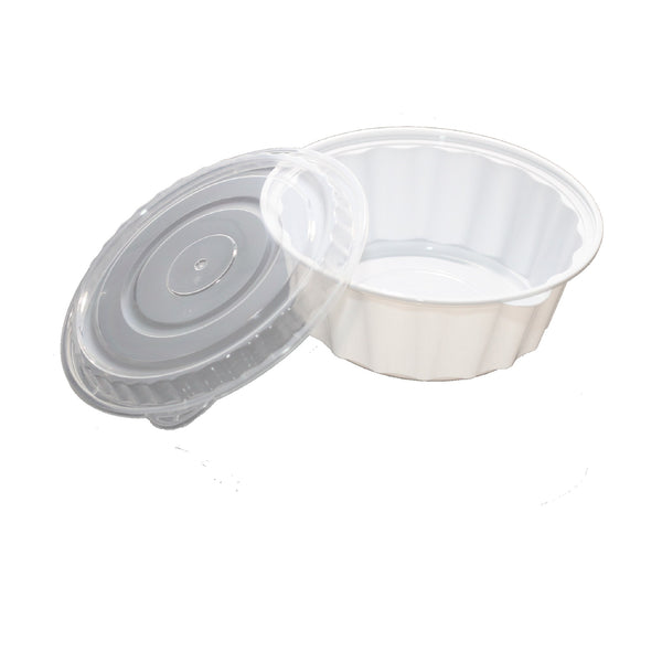 2550ML ROUND WAVEBOX MICROWAVE CONTAINER WHITE W/-CLEAR LID