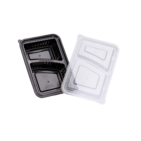2-COMPARTMENT RECTANGULAR WAVEBOX MICROWAVE CONTAINER BLACK W/-CLEAR LID