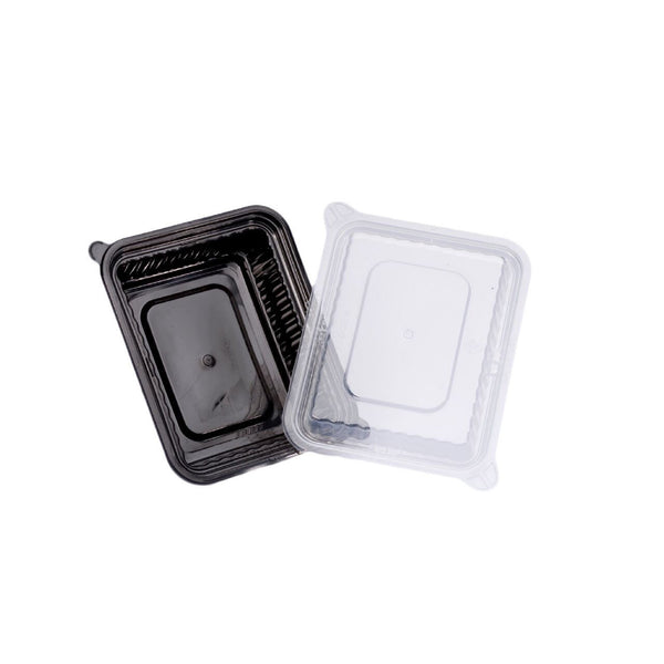 360ML RECTANGULAR WAVEBOX MICROWAVE CONTAINER BLACK W/-CLEAR LID