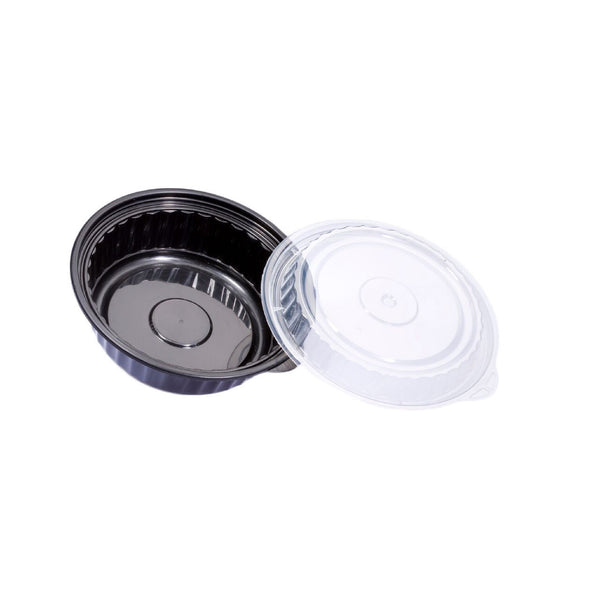 480ML ROUND WAVEBOX MICROWAVE CONTAINER BLACK W/-CLEAR LID