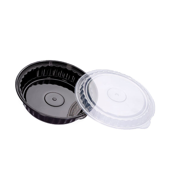 1050ML ROUND WAVEBOX MICROWAVE CONTAINER BLACK W/-CLEAR LID
