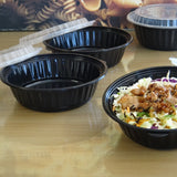 720ML ROUND WAVEBOX MICROWAVE CONTAINER BLACK W/-CLEAR LID