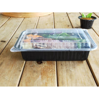 1140ML RECTANGULAR WAVEBOX MICROWAVE CONTAINER BLACK W/-CLEAR LID