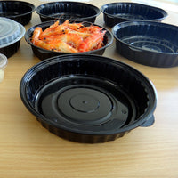 1440ML ROUND WAVEBOX MICROWAVE CONTAINER BLACK W/-CLEAR LID