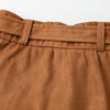 Asymmetric Suede High Waist Leather Short Skirt For Women-Camel 9