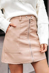 Vintage Autumn Winter Leather High Waist Zipper Mini Skirt For Women-Pink 1